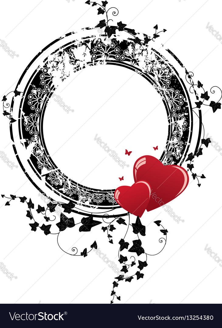 Valentine frame with hearts and ivy vector image