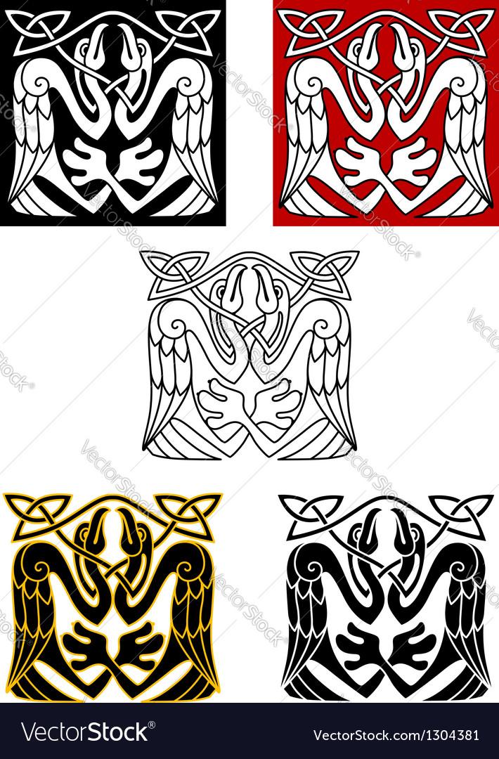 Stork birds in celtic ornament style vector image