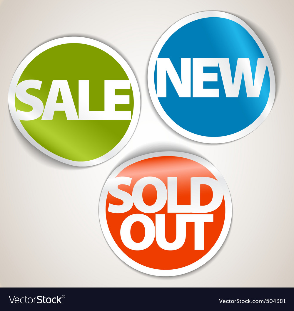 Set of labels for the new sold out and discount it vector image