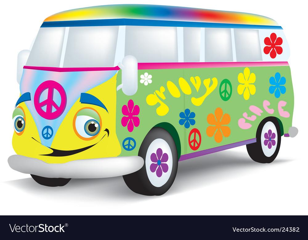 Cartoon hippie bus vector image