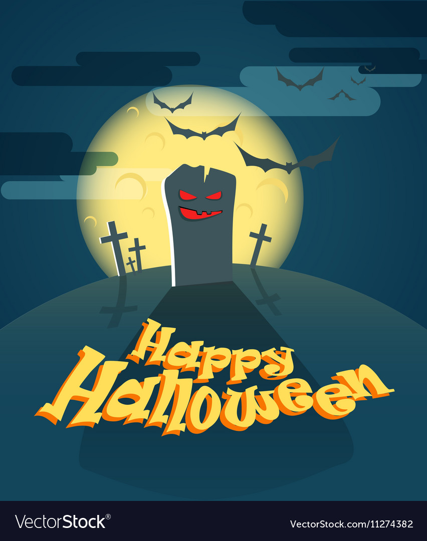 Dark cemetery in a full moon Happy Halloween vector image