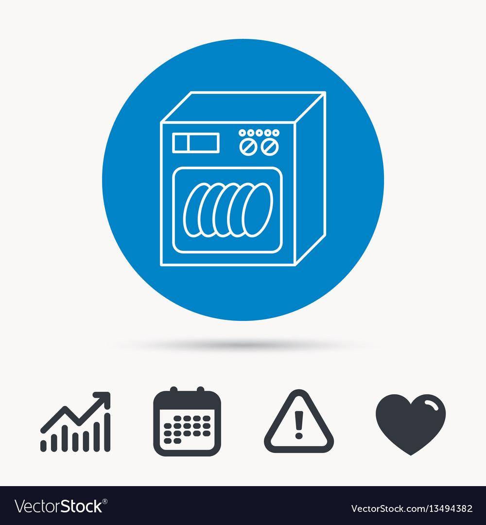 Dishwasher icon kitchen appliance sign vector image