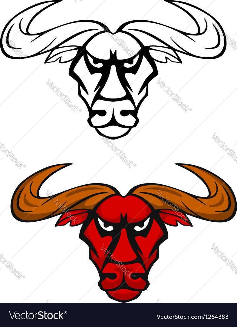Attack bull head mascot vector image