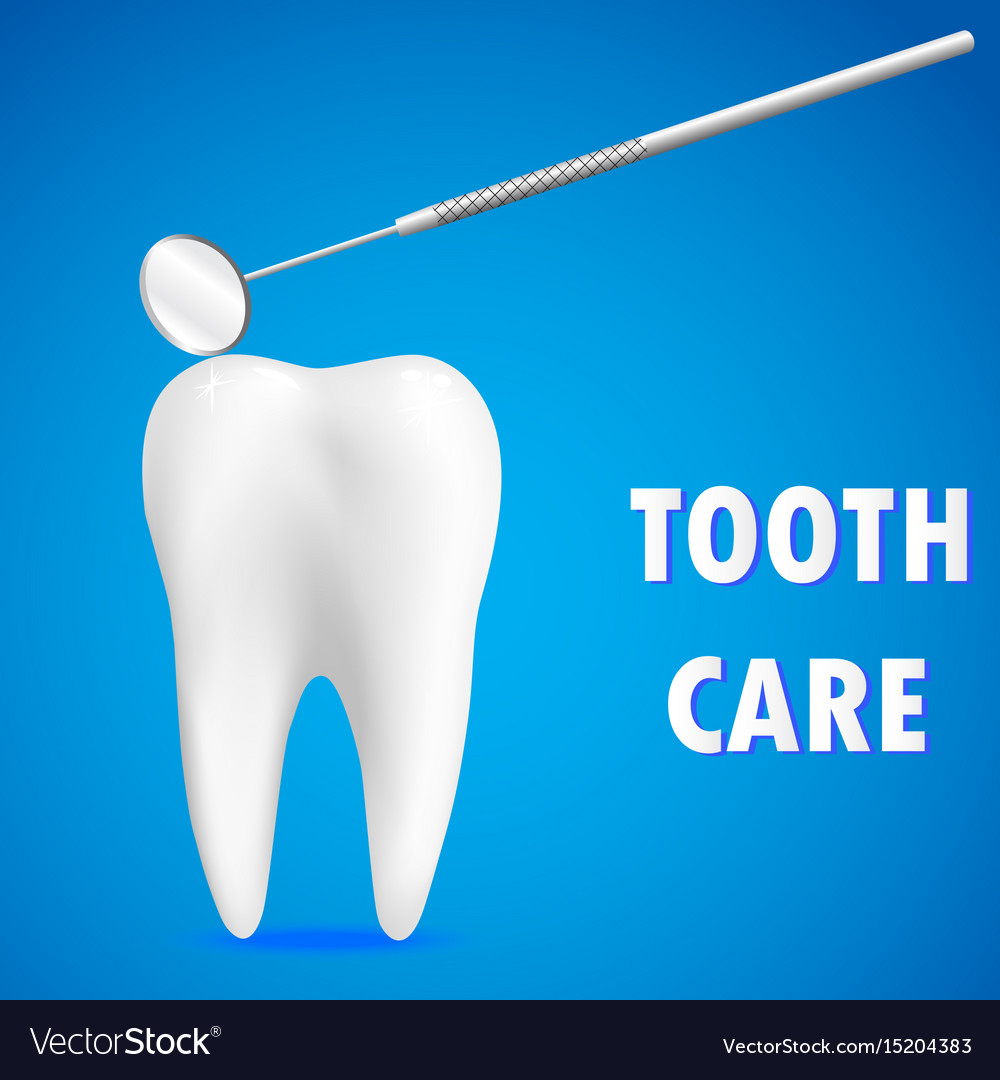 Clean white tooth and dentistry mirror on blue vector image