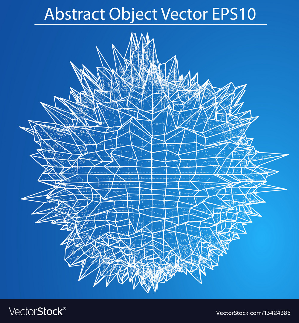 Abstract distorted sphere wireframe style vector image