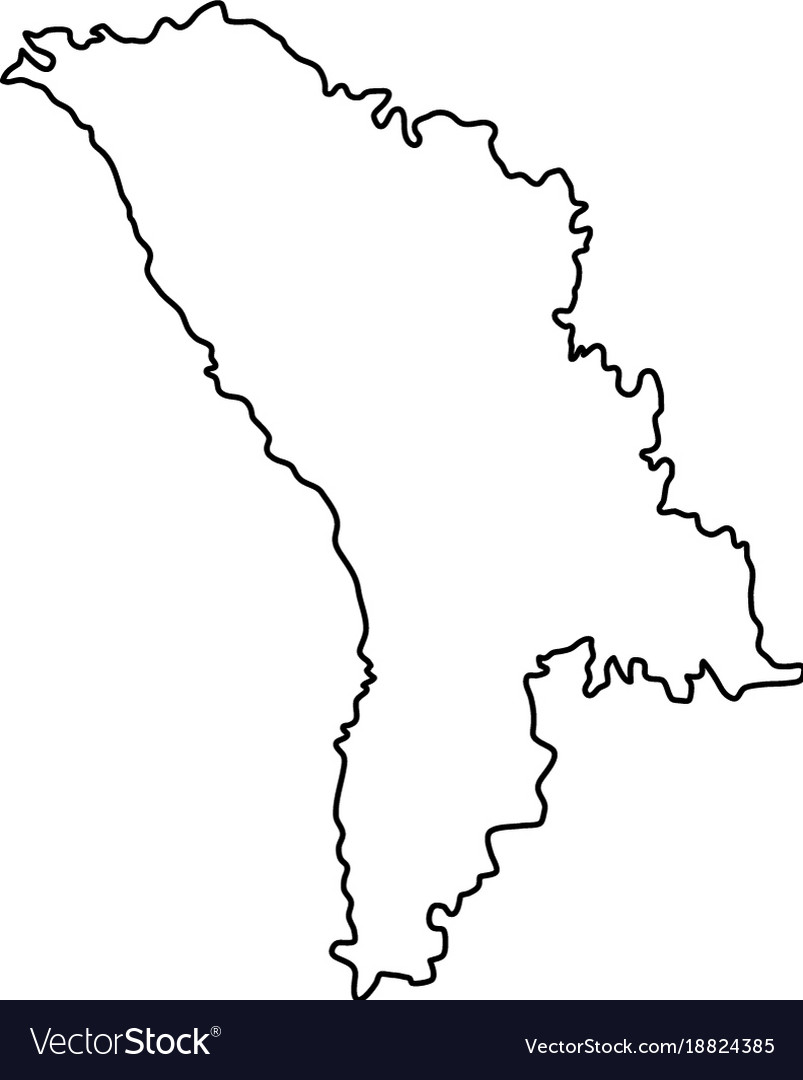 Moldova Map Of Black Contour Curves On White Vector Image - Moldova map vector