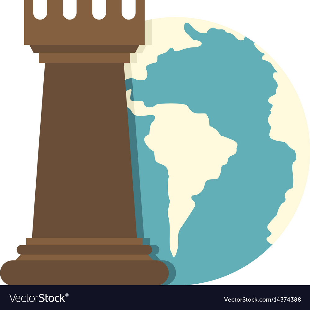 Globe earth and chess rook icon isolated vector image