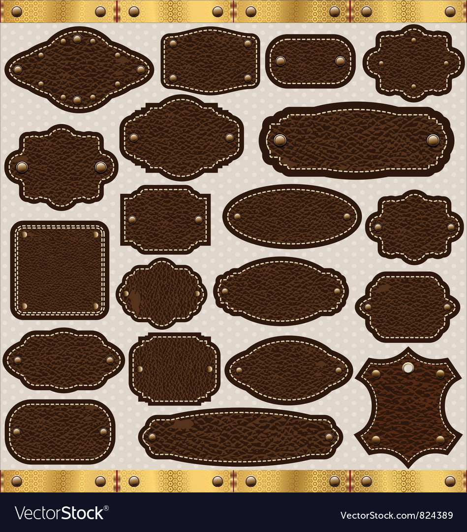 Leather vintage LABELS set vector image