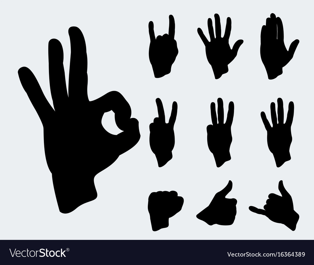 Hands deaf-mute different gestures human arm black vector image
