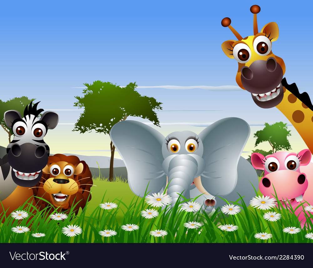 Funny animal cartoon with nature background vector image
