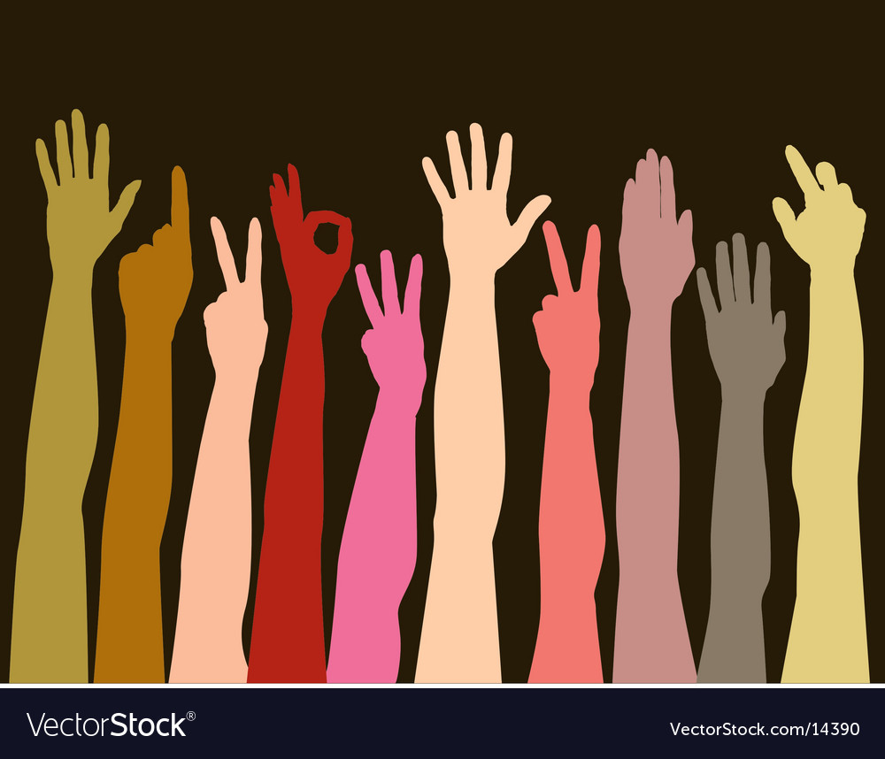 Hands of all races vector image