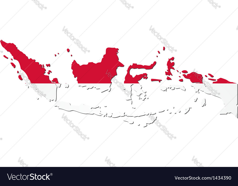 Map of Indonesia with national flag vector image