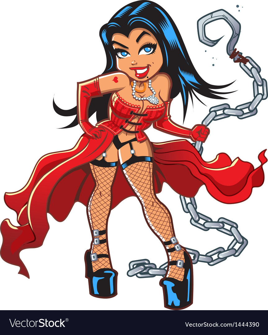 Sexy Goth Woman With Chain vector image