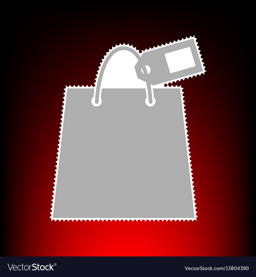 Shopping bag sign with tag postage stamp or old vector image