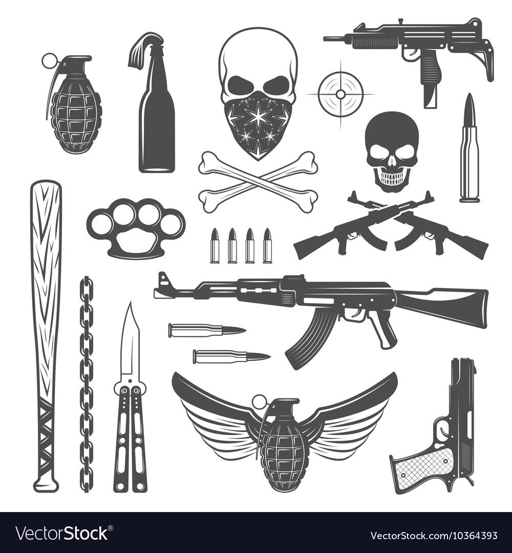 Gangster Monochrome Elements Set vector image