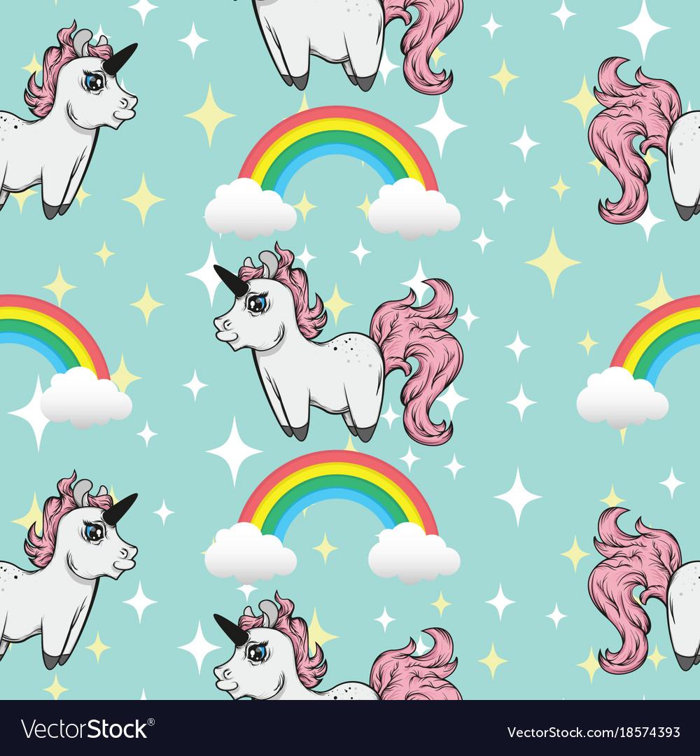 Seamless pattern unicorns and rainbows vector image