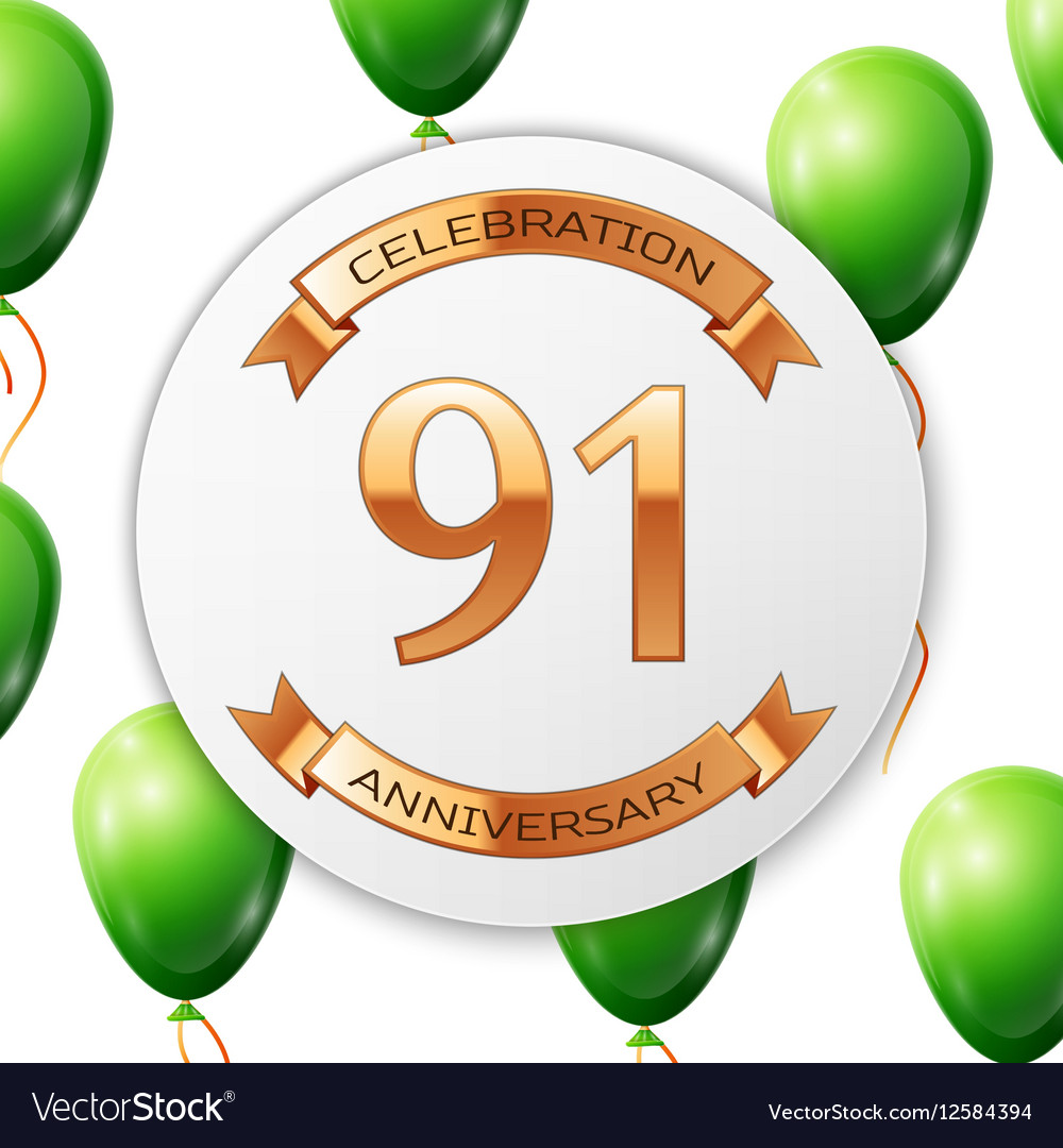 Golden number ninety one years anniversary vector image