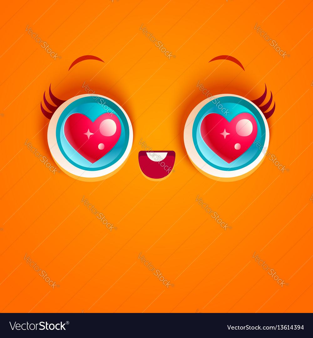 Kawaii face with eyes vector image