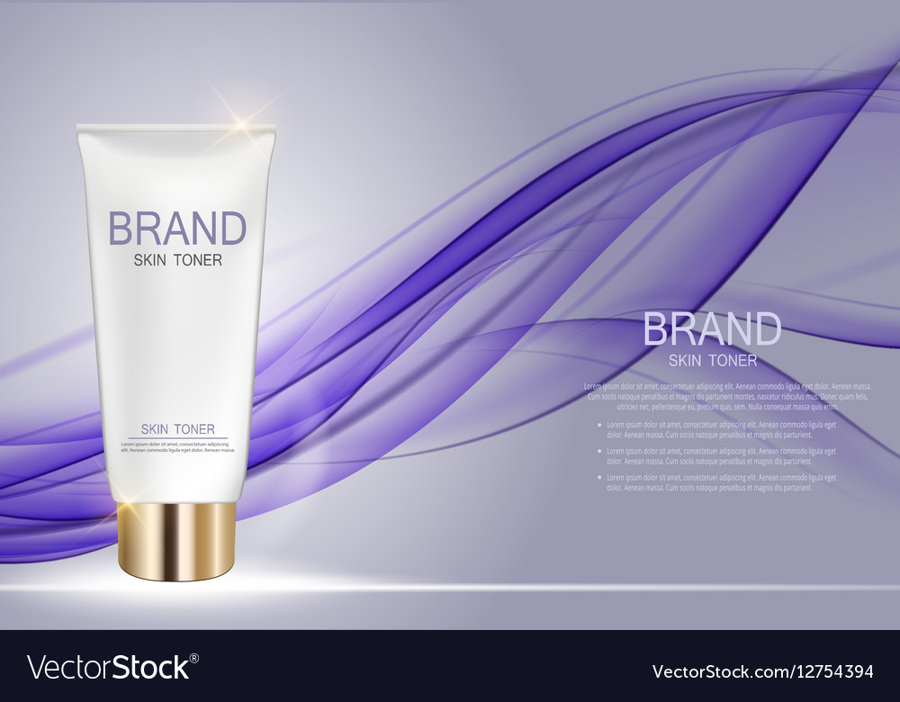 Skin Toner Bottle Template for Ads or Magazine vector image