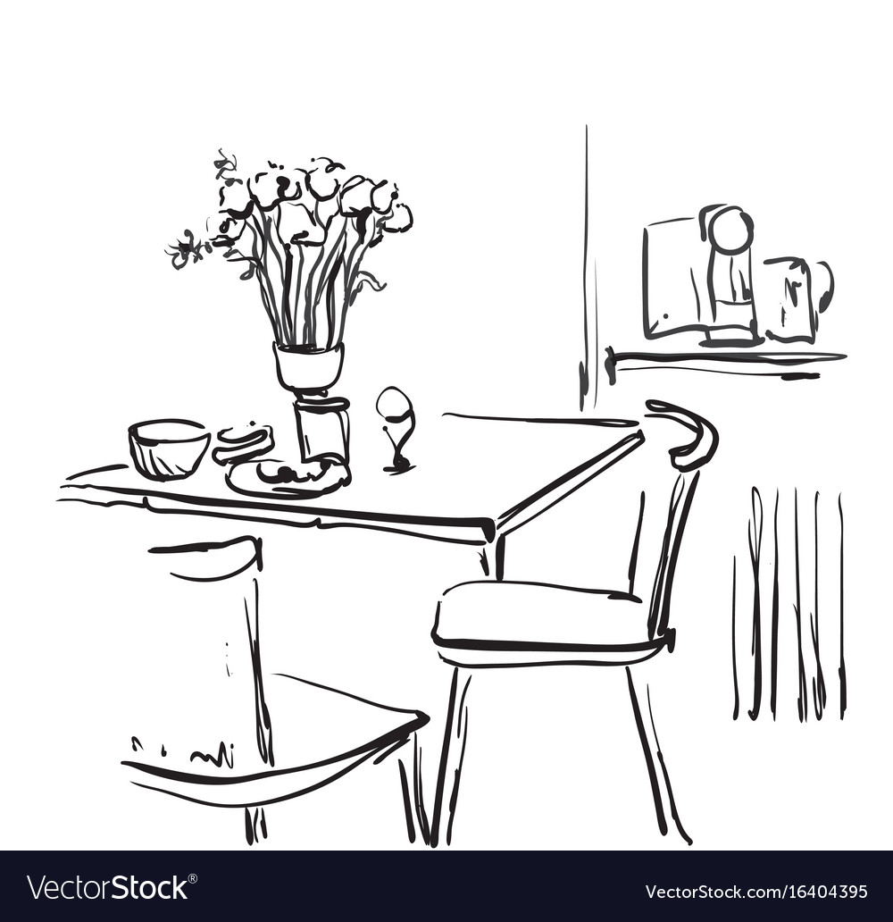 Dining Table For Date With Coffee Hand Drawn Vector Image