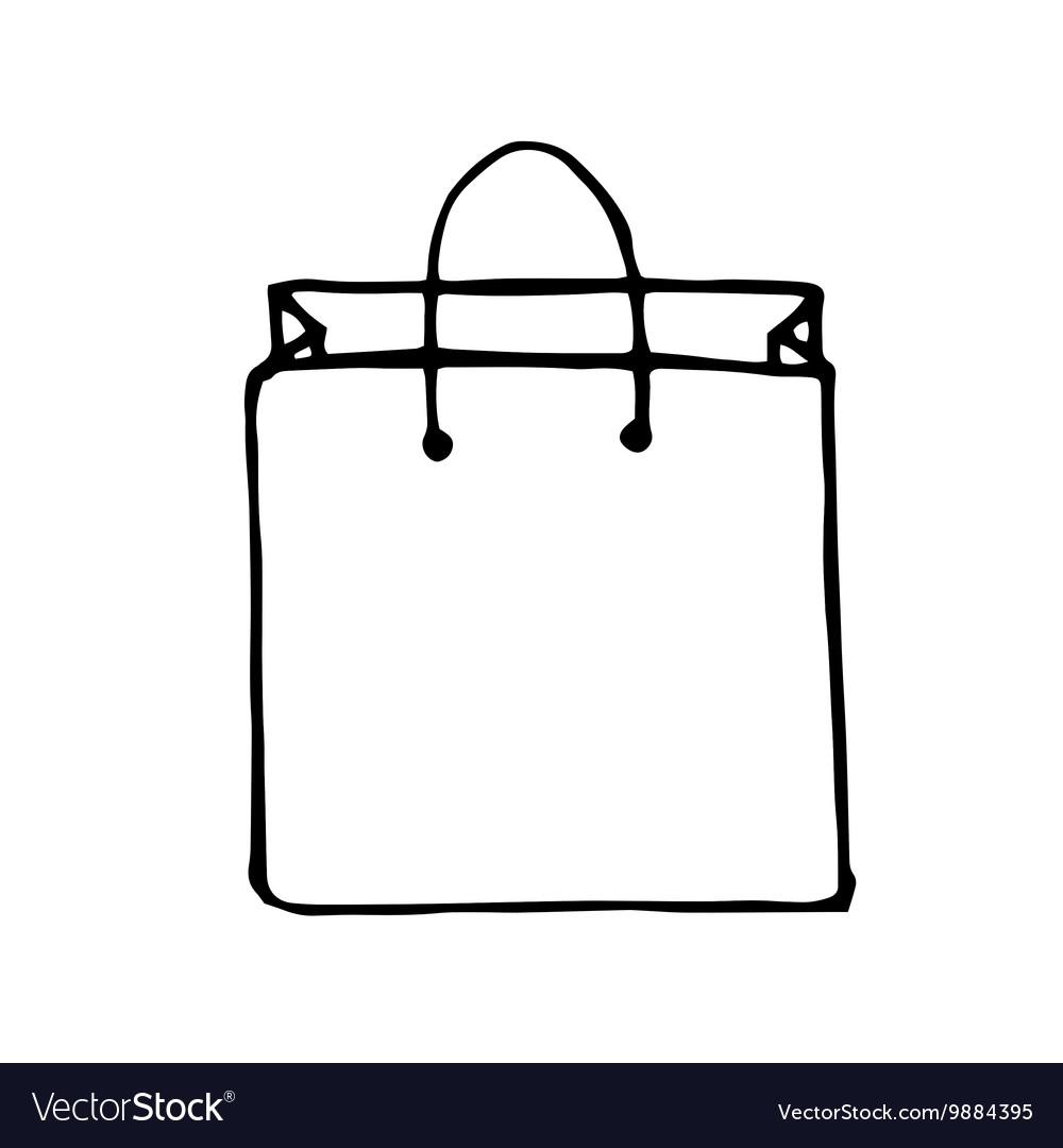 doodle style shopping bag royalty free vector image rh vectorstock com shopping bag vector icon shopping bag vector logo