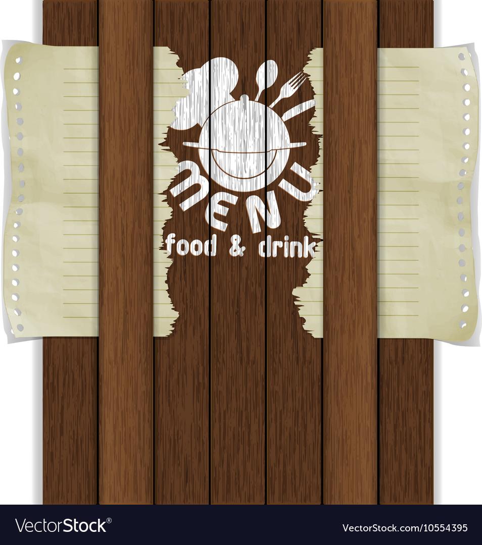 Template frame restaurant menu wooden boards white vector image