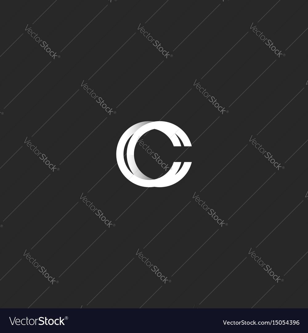 Logo c letter monogram combination cc mark simple vector image