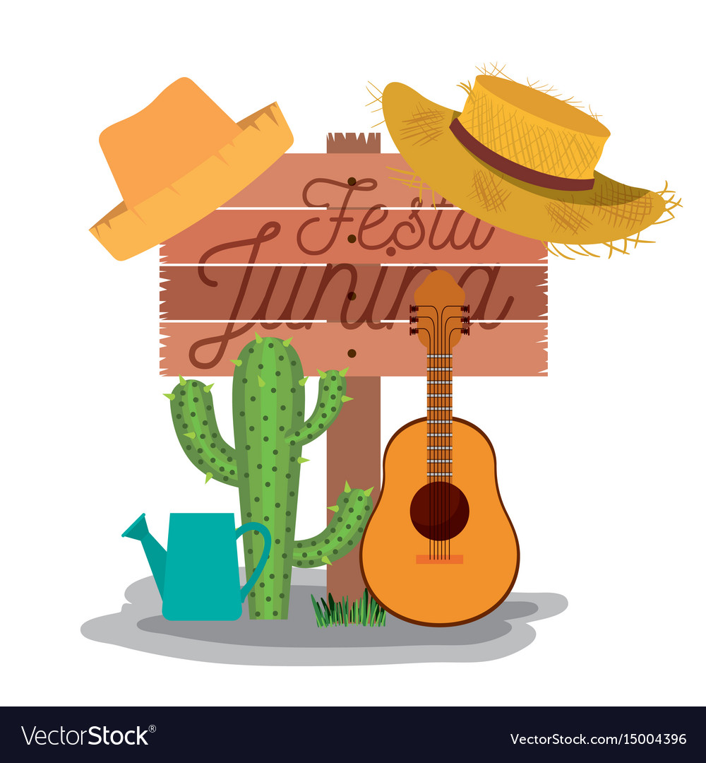 White background poster with wooden fence of festa vector image