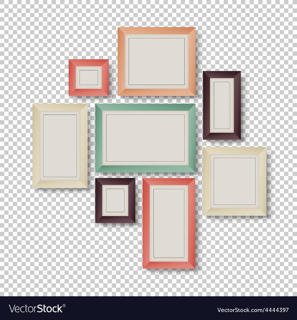Frames set hipster color theme vector image