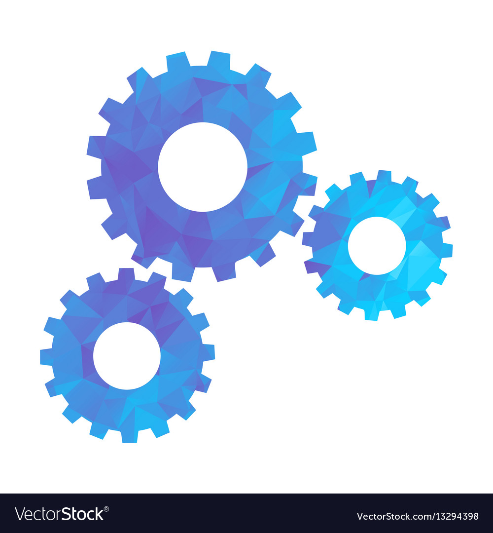 Polygon blue icon gear vector image