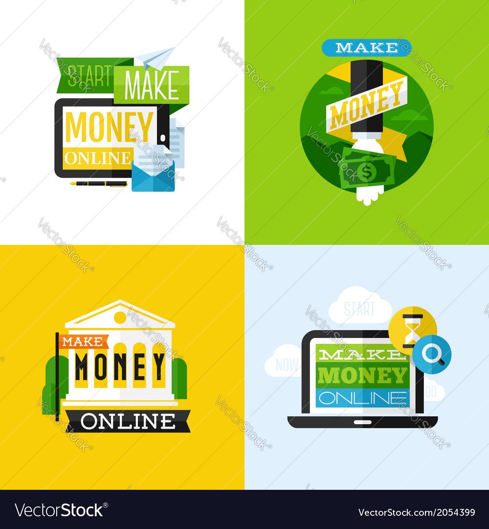 Flat design of make money concept vector image