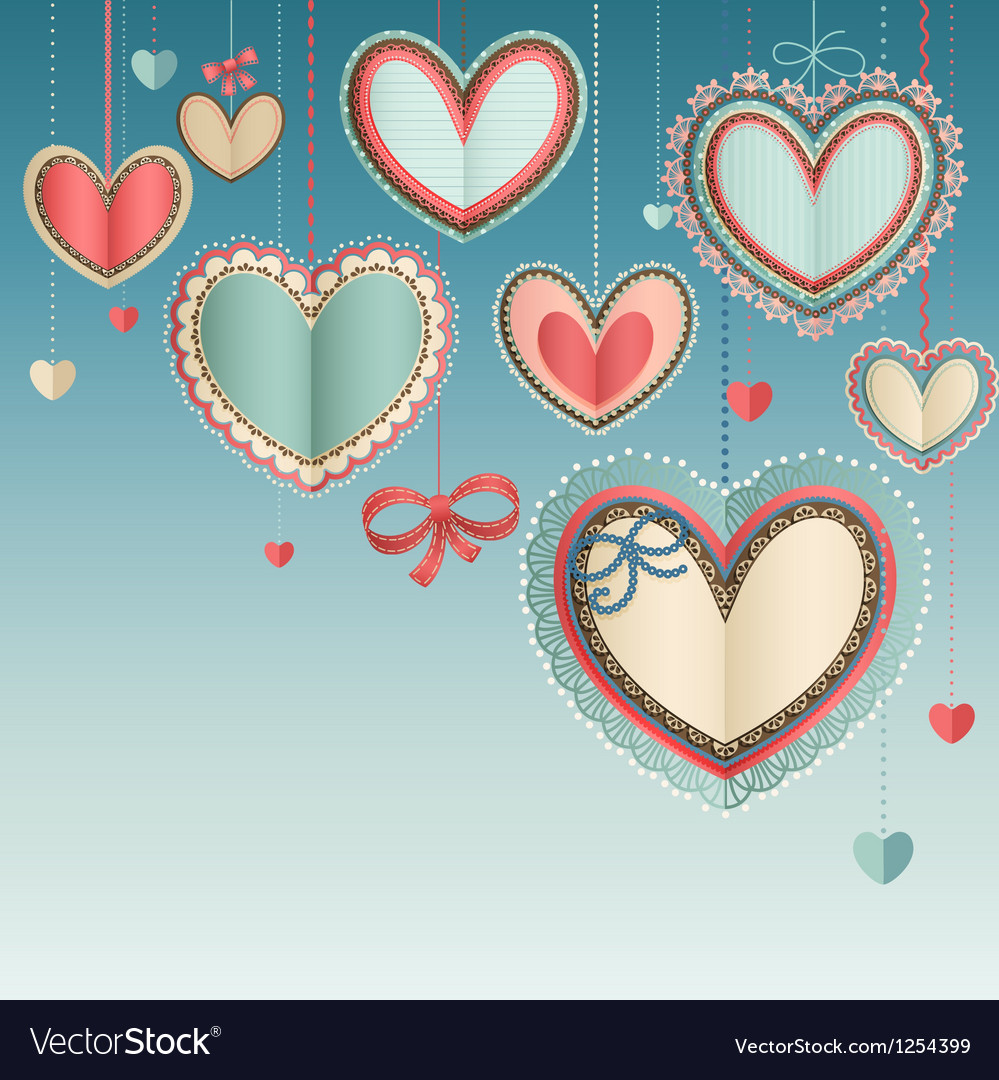 Paper hearts in the sky vector image