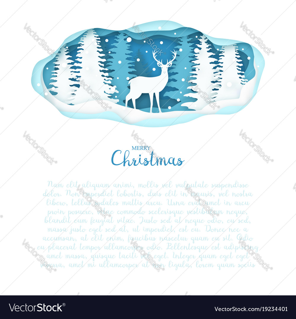 Deer on winter forest in paper cut christmas vector image