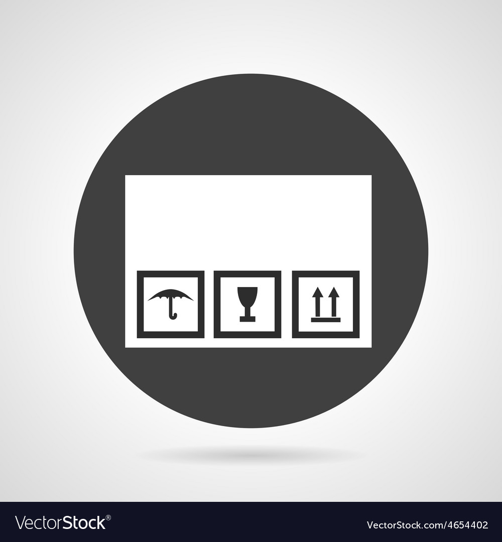 Cardboard box black round icon vector image