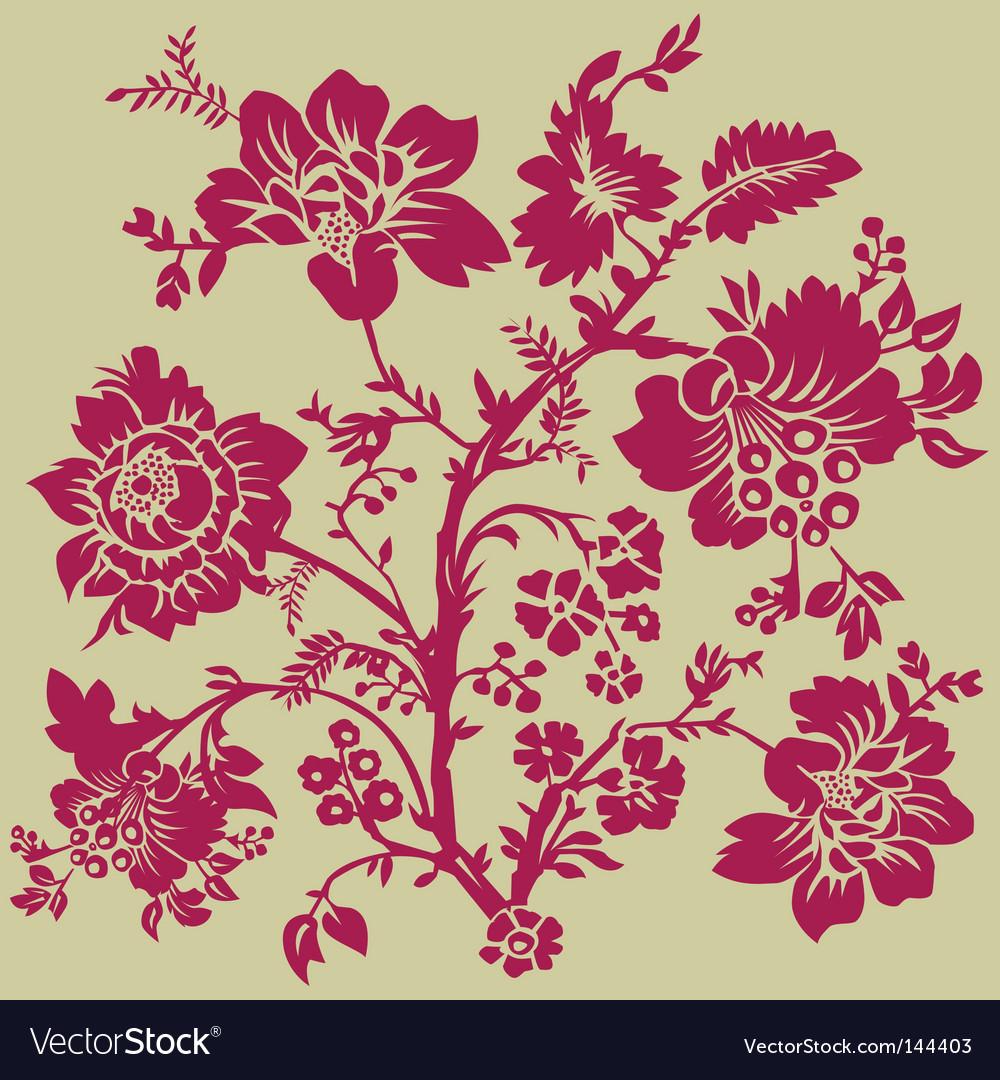 Floral rose pattern vector image