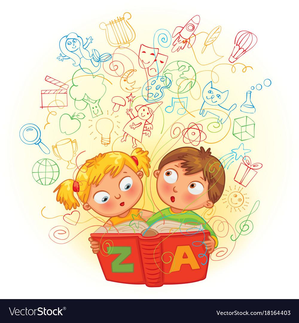 Boy and girl reading a magic book vector image
