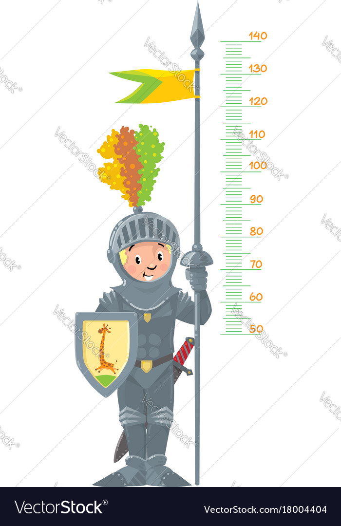 Knight boy meter wall or height chart vector image