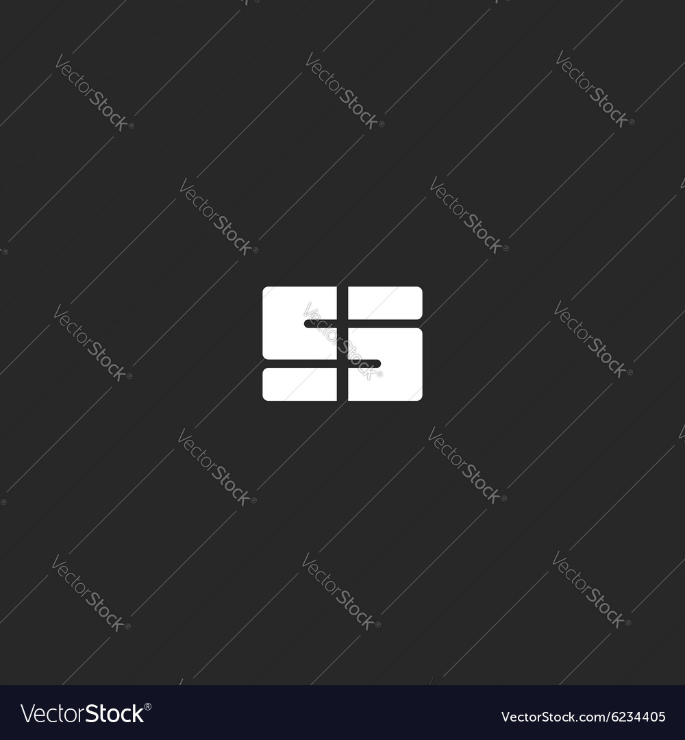 Letter S logo or 5 symbol black and white abstract vector image