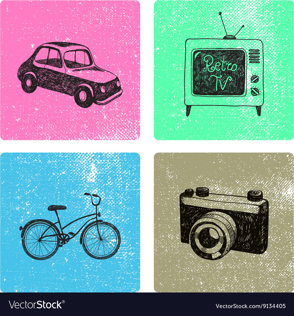 Set of hand drawn retro vintage cards with vector image