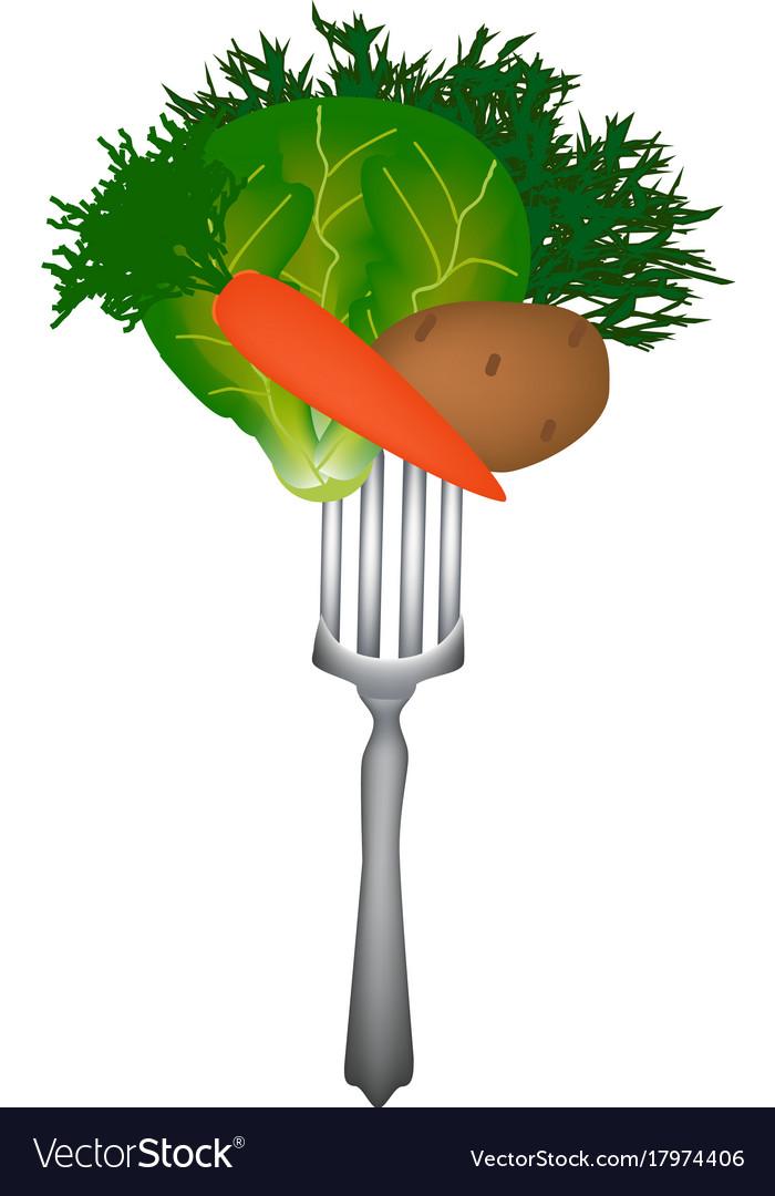 World vegan day vegetables on a fork vector image