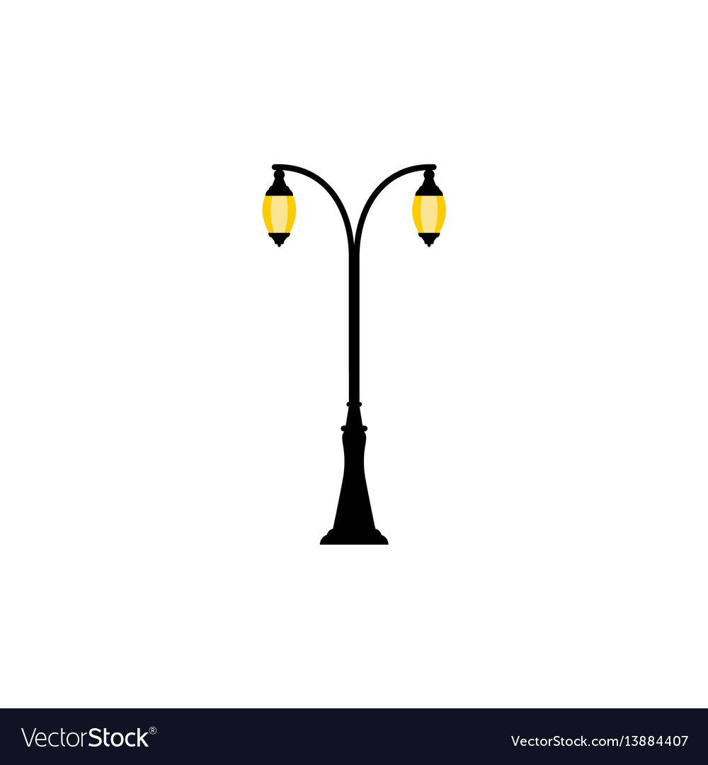 Vintage streetlight with two lamps vector image