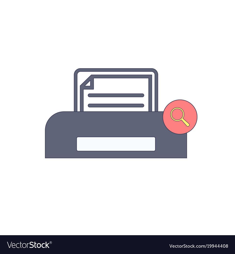 Document paper print printer search icon vector image