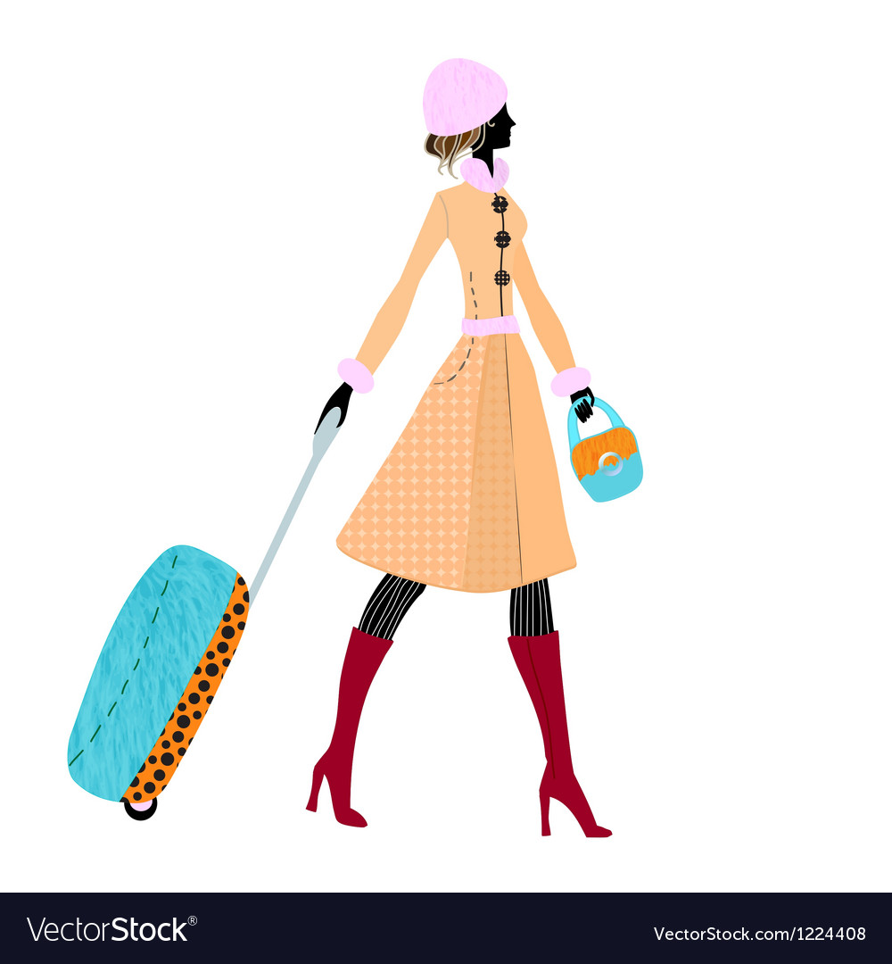 Elegant woman with luggage vector image