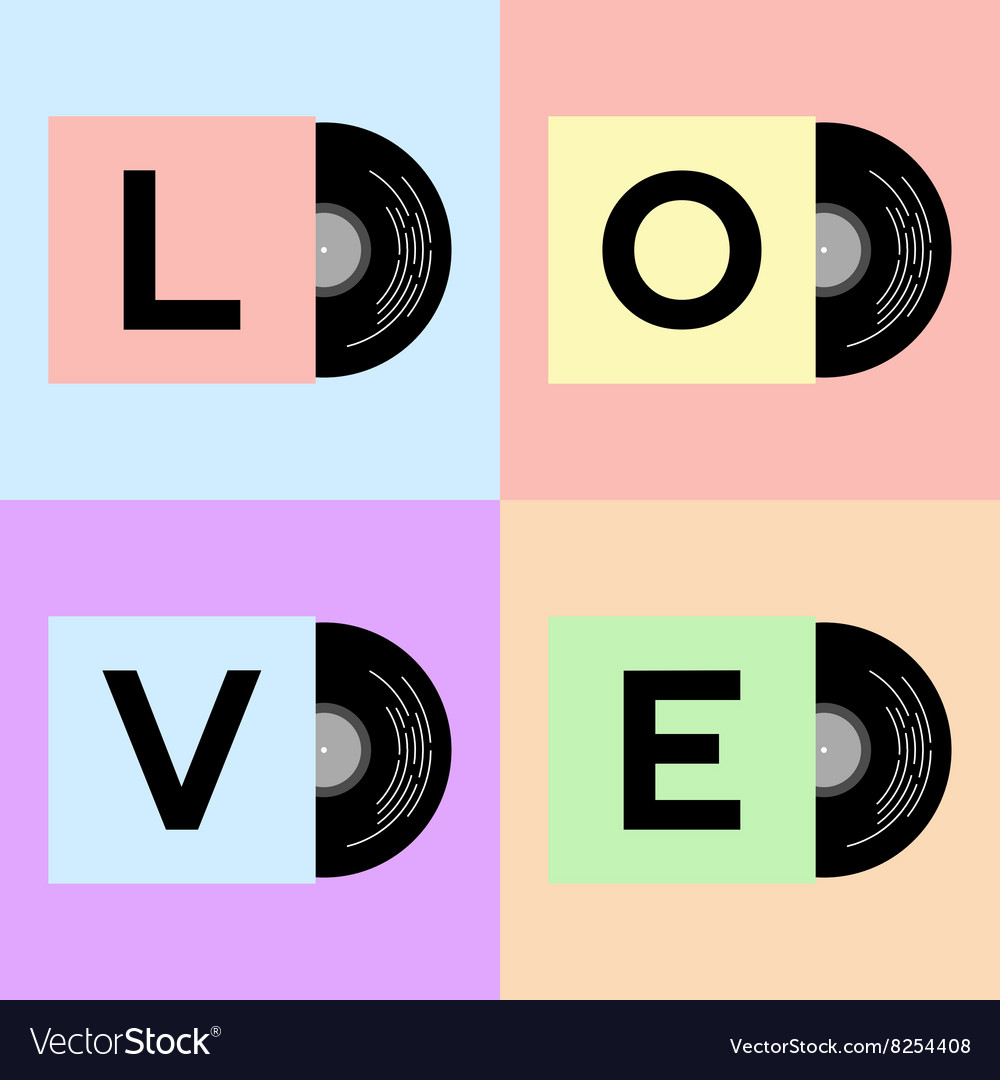 Vinyl cover with LOVE word vector image