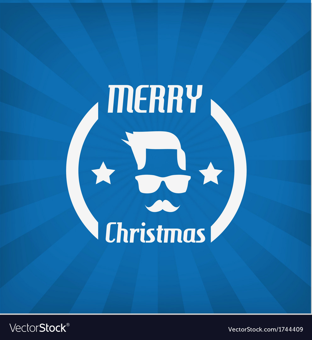 Hipster face christmas icon vector image