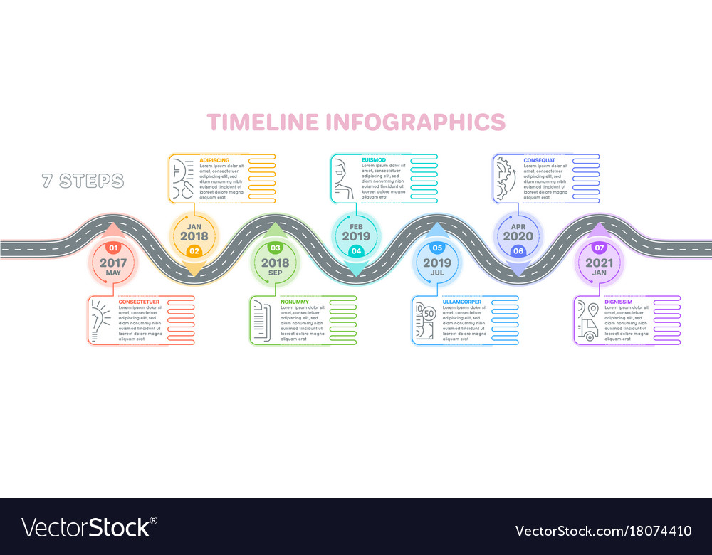 Navigation map infographics 7 steps timeline vector image