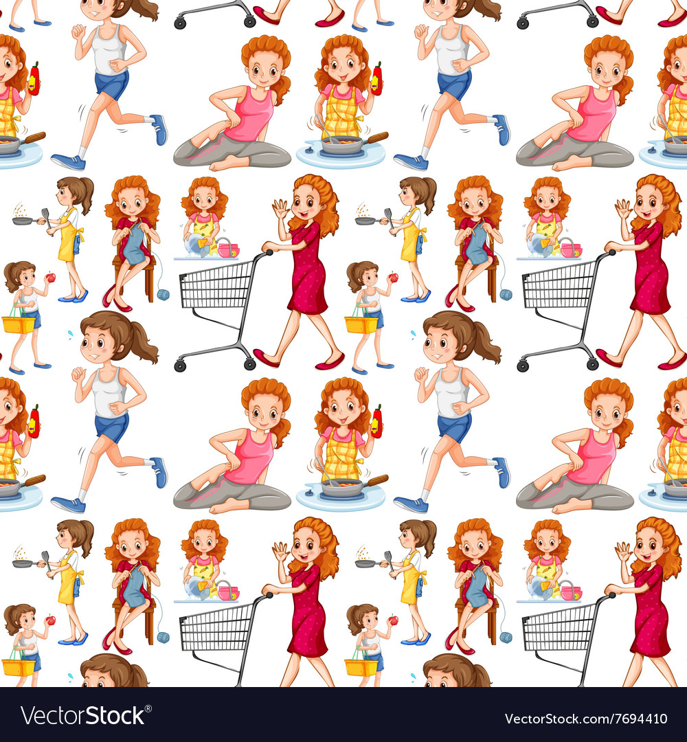 Seamless housewife doing activities vector image