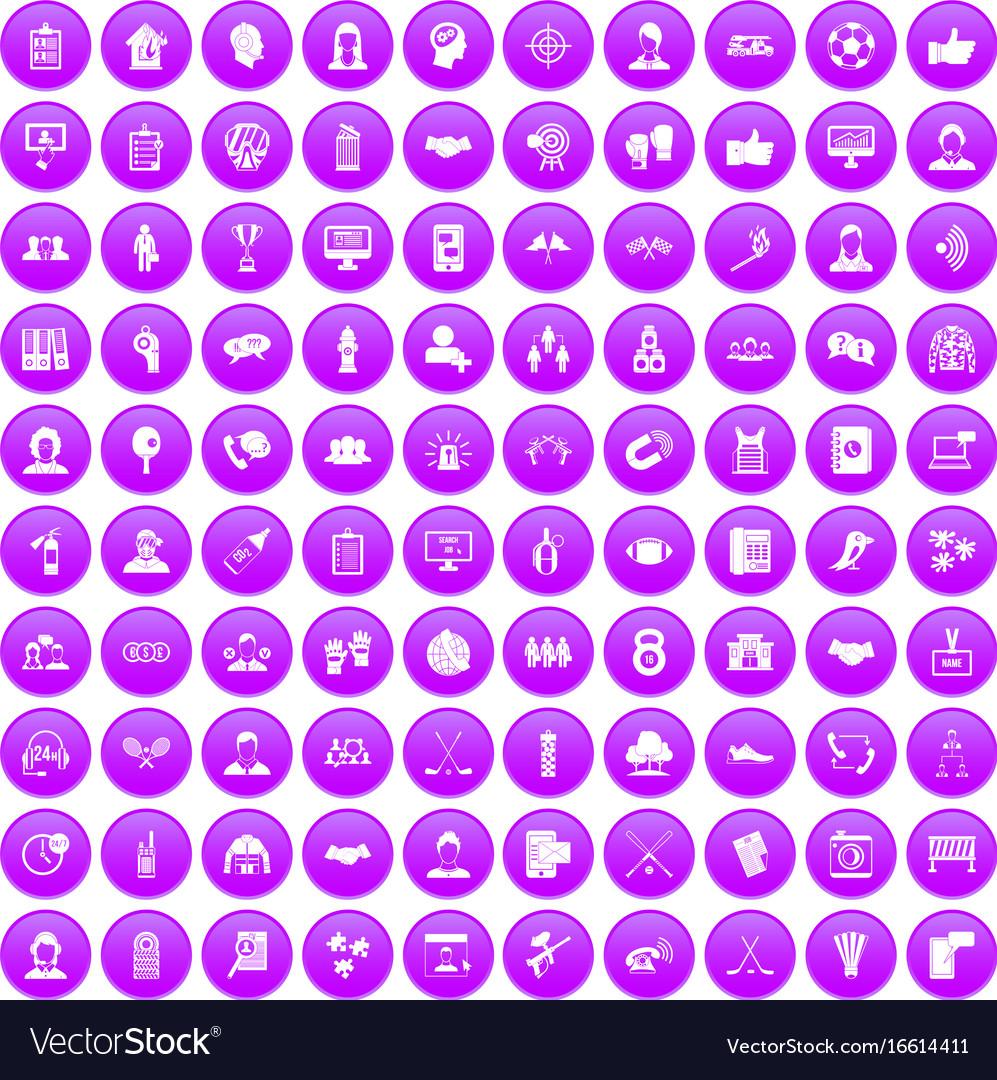 100 team icons set purple vector image