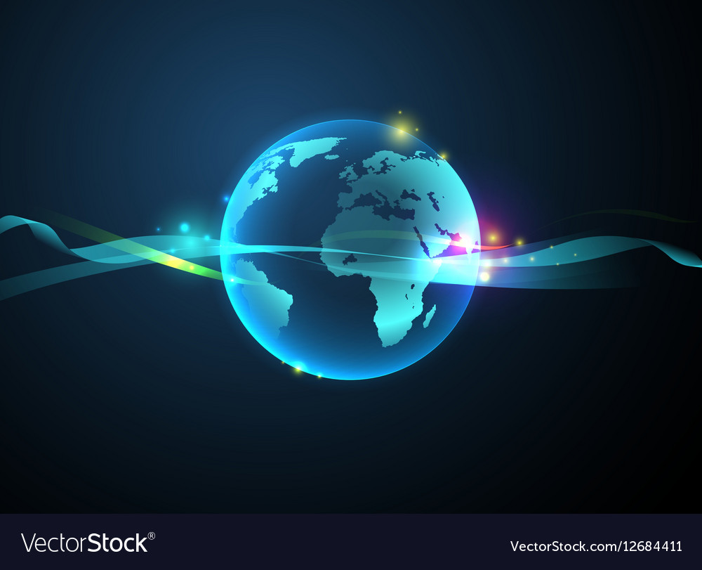 Earth hologram background abstract vector image