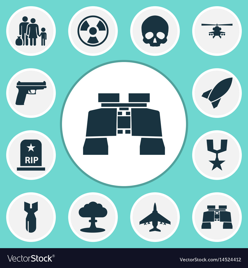 Combat icons set collection of cranium missile vector image